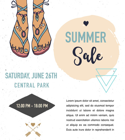 bohemian: Bohemian summer, fair, event poster, boho and hippie style