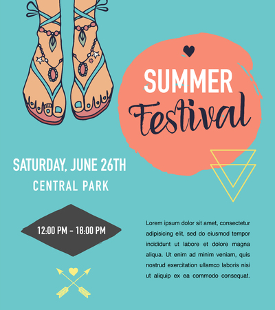 Bohemian summer, fair, event poster, boho and hippie style