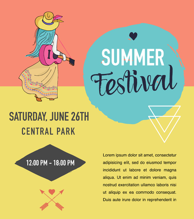 Bohemian summer, music event and festival poster, boho style