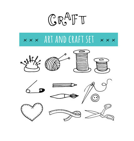 craft supplies: Handmade, crafts workshop icons. Hand drawn vector illustrations