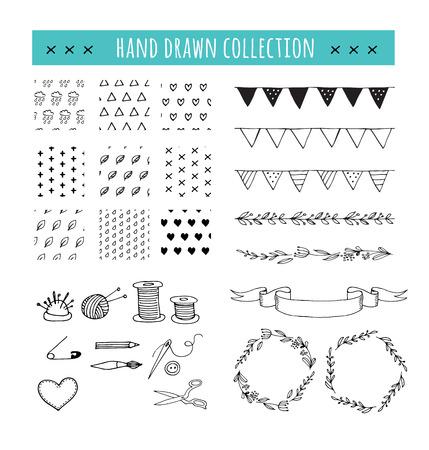 Met de hand gemaakt, ambachten workshop iconen en patronen. Hand getrokken vector illustraties Vector Illustratie
