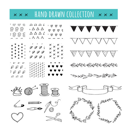 Handmade, crafts workshop icons and patterns. Hand drawn vector illustrations