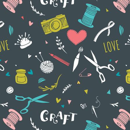 craft supplies: Handmade, crafts patterns and vector hand drawn background