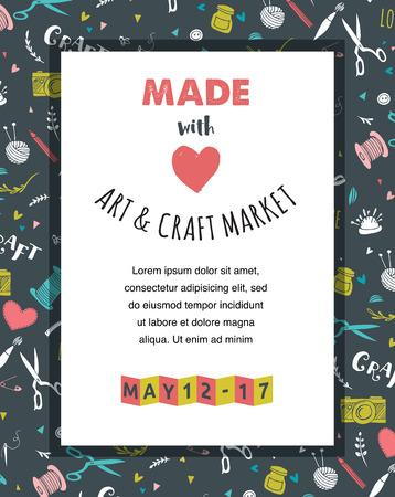 Handmade, crafts workshop, art fair and festival poster, flyer