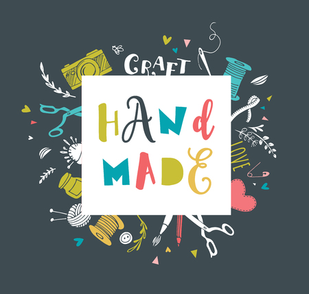 craft supplies: Handmade, crafts workshop, art fair and festival poster, flyer