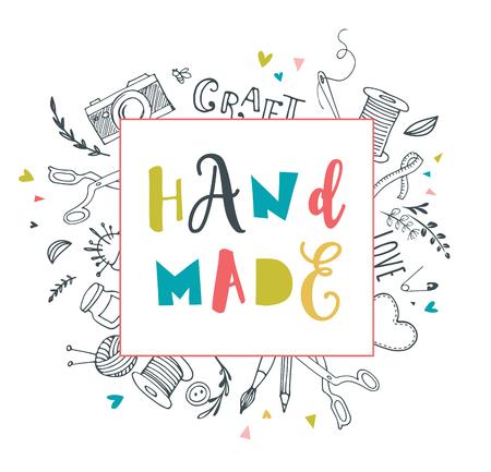 craft supplies: Handmade, crafts workshop, art fair and festival poster, flyer