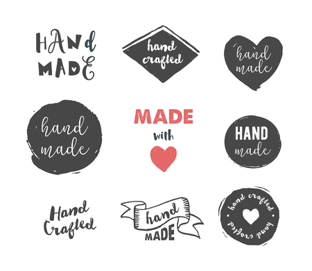 paper arts and crafts: Handmade, crafts workshop, made with love icons and badges Illustration