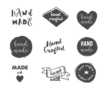 craft supplies: Handmade, crafts workshop, made with love icons and badges Illustration