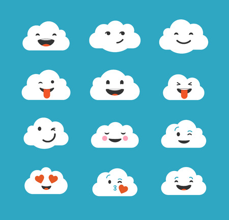 iconography: Clouds cute emoji, smily emoticons set