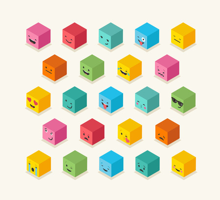 iconography: Isometric emoticons cube, square colorful icons