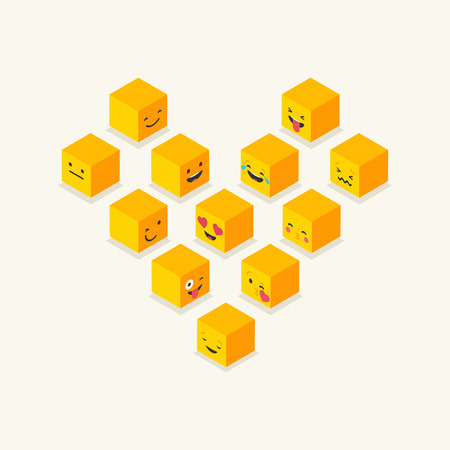 iconography: Isometric heart symbol, love cube emoticons, square colorful icons Illustration