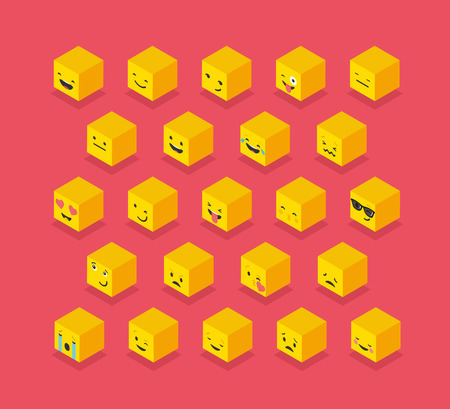 iconography: Isometric cube yellow emoticons, square colorful icons