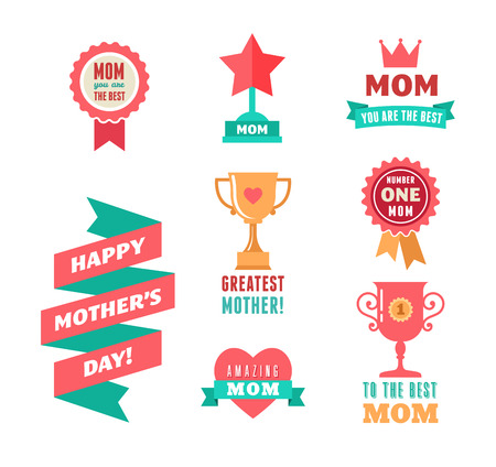mother's day: Happy Mothers Day, ribbons, trophy and heart elements and icons