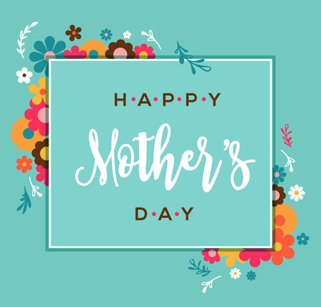 幸せな母の日グリーティング カードとレタリング、タイポグラフィ デザイン