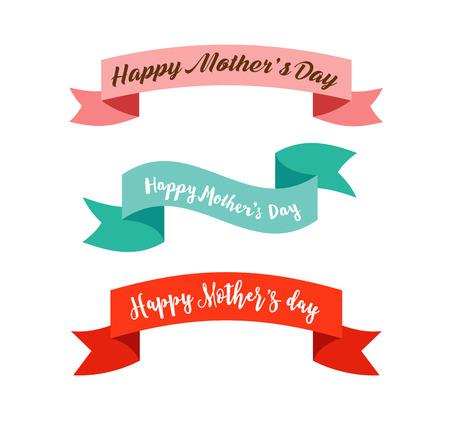 Jour des rubans, des bannières et des éléments de mère heureux Vecteurs