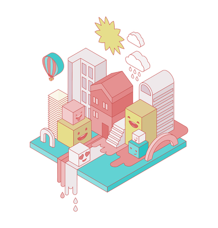 clouds scape: Festive isometric colorful city with emoticons, emoji characters. Poster, banner, background and flyer Illustration