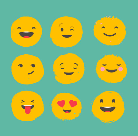 communication icons: Hand drawn emoticons, colorful emoji icons with communication speech bubbles Illustration