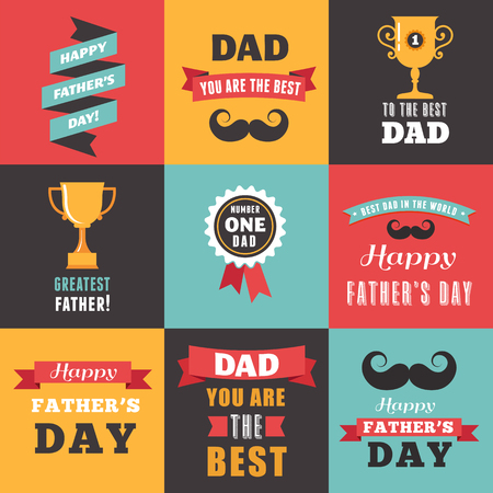 daddy: Happy fathers day vintage hipster greeting cards set Illustration