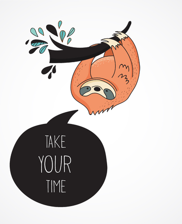 oso perezoso: Cute hand drawn sloths, funny vector illustrations, poster and greeting card