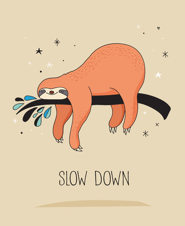 Cute hand drawn sloths, funny vector illustrations, poster and greeting card