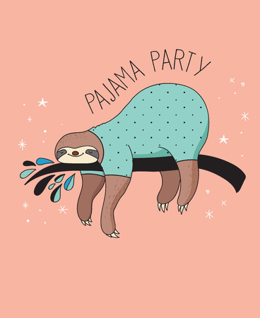 Cute hand drawn sloths, funny vector illustration, poster and greeting card, party invitation