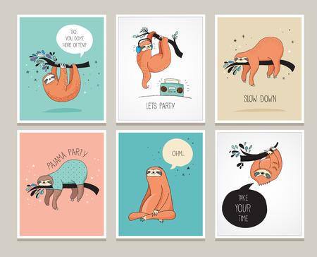 かわいい手描きのナマケモノ、面白いベクトル イラスト、グリーティング カード セット