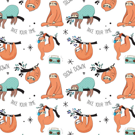 Cute hand drawn sloths, funny vector Cute hand drawn sloths illustrations, seamless pattern Illustration