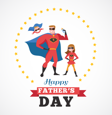Happy fathers day - super dad with kids, greeting card