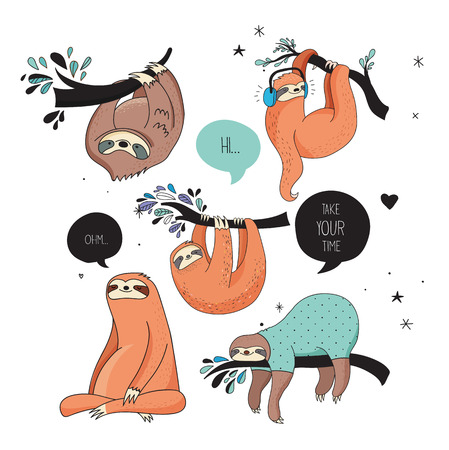 Cute hand drawn sloths, funny vector illustrations