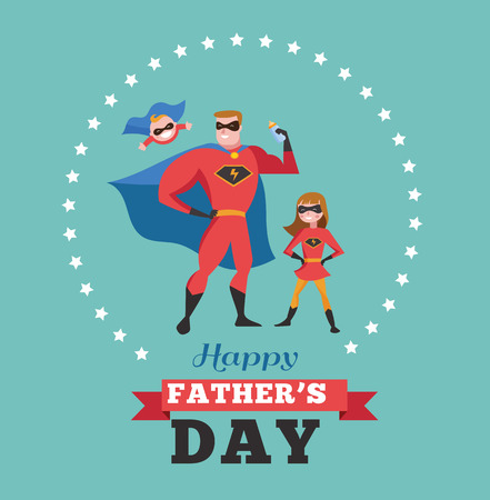 super dad: Happy fathers day - super dad with kids, greeting card