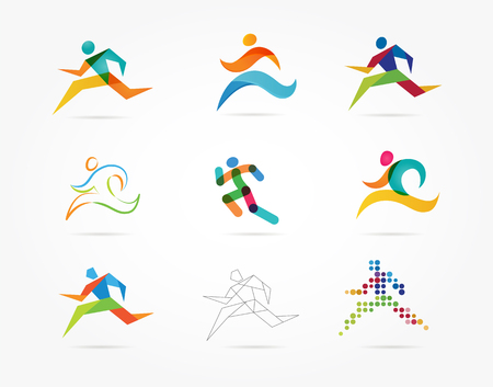 Running marathon, people run, colorful icons and elements collection