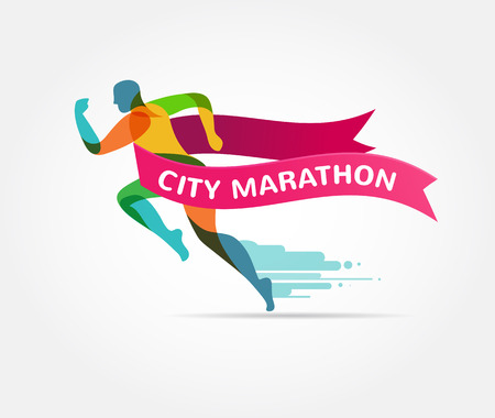 symbol icon: Running marathon, colorful icon and symbol with ribbon, banner Illustration