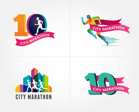 silueta hombre: Correr el maratón, icono y símbolo con el número, colorida colección Vectores