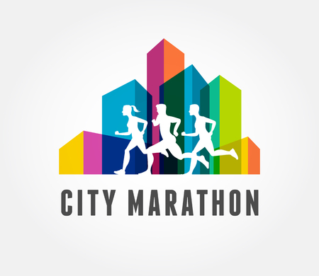 Running marathon in city, colorful icon and symbol with ribbon, banner