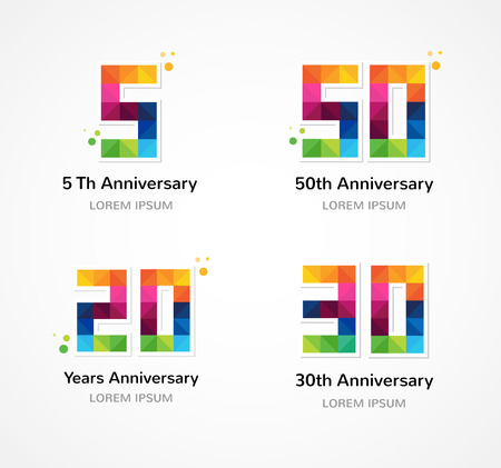 40 years: anniversary - abstract colorful icons and elements collection