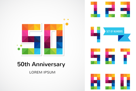ten years jubilee: anniversary - abstract colorful icons and elements collection