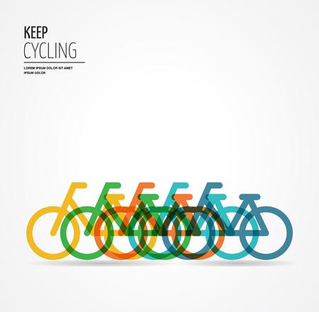 ciclismo: cartel colorido de la bicicleta