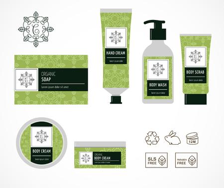 Set van natuurlijke cosmetica ontwerp verpakking, pictogrammen, parabenen, organisch biologisch product, niet getest op dieren