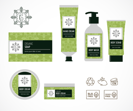 Set of natural cosmetics design packaging, icons, paraben free, organic bio product, not tested on animals Illustration