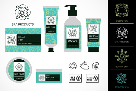 Set of natural cosmetics design packaging, icons, paraben free, organic bio product, not tested on animals Ilustrace