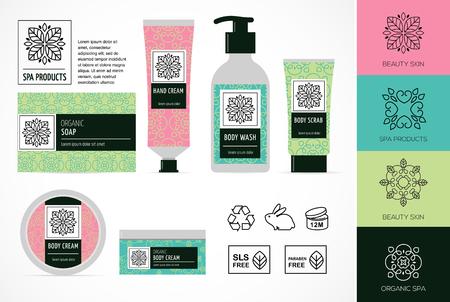Set van natuurlijke cosmetica ontwerp verpakking, pictogrammen, parabenen, organisch biologisch product, niet getest op dieren Stockfoto - 57737566