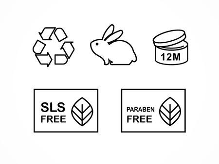 Set van natuurlijke cosmetica ontwerp verpakking symbolen, iconen, parabenen, organisch biologisch product, niet getest op dieren Stock Illustratie