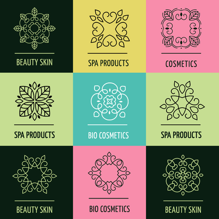 alternative medicine: Set of abstract lineart, linear, modern and simple design of icons