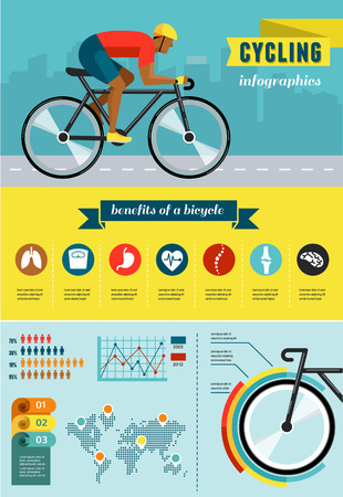 biking: cyclist riding on bicycle, vector infographics, poster, icon set