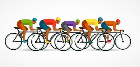 silueta ciclista: montar a ciclista en bicicleta, y el cartel ilustración vectorial