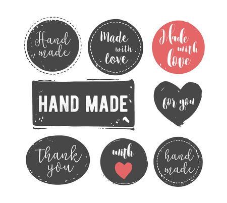 handcrafted: hand drawn, handcrafted, handmade stamp set and ink stains, textures, abstract shapes