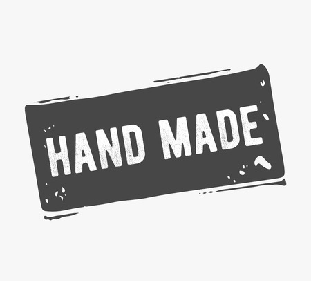 handmade: hand drawn, handcrafted, handmade stamp and ink stain with durty texture shape Illustration