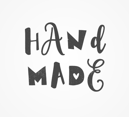handcrafted: hand drawn, handcrafted, handmade stamp and ink stain with durty texture shape Illustration
