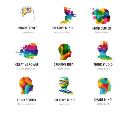 cerebro: Cerebro, elegante, mente creativa, de aprendizaje y de diseño de iconos. La cabeza del hombre, la gente símbolos de colores