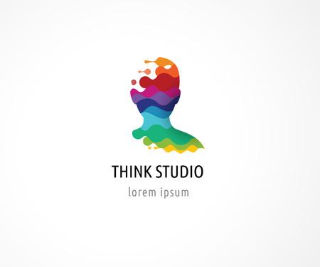 Brain, slimme, creatieve geest, leren en design iconen. Hoofd van de mens, mensen kleurrijke symbolen